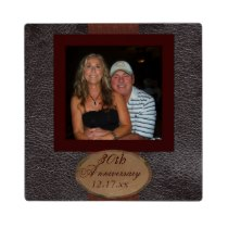 Anniversary photo leather look Plaque