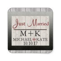 Just Married barn wood  labels Sticker