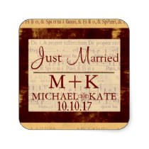 Just Married music note  labels Square Stickers