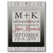 Just Married wedding decor barn wood Postcard