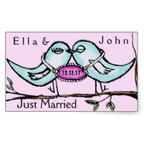 Lovebirds Just Married Rectangle Stickers