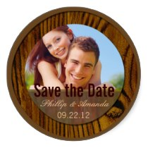 Save the date label modern casual round stickers