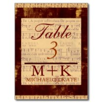 Table no wedding music note modern postcard