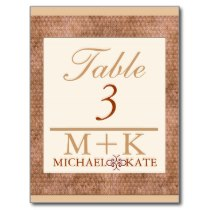 Table no wedding suede look modern postcard